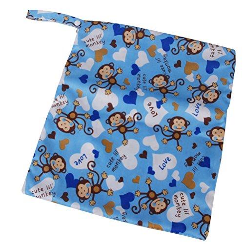 WINOMO sac à bébé avec fermeture éclair chiffon couches Nappy humide sec sac fourre-tout lavable réutilisable imperméable à l'eau (bleu)