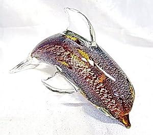 New Hand Blown Glass Silvermist Purple Dolphin Figurine