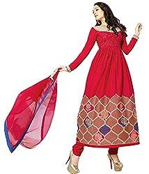 Shelina Women Red Satin Embroidered Anarkali Salwar Suit