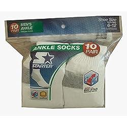 Starter Men's White Ankle / Quarter Socks 10-Pairs, Sizes 6-12