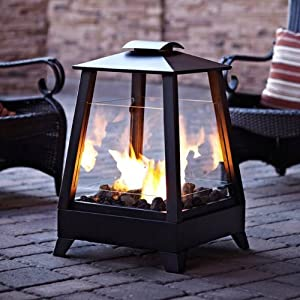 "29"" Coastal Square Outdoor Patio Gel Fireplace with Glass Screens - Black"