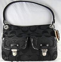 Hot Sale Coach Poppy Metallic Signature Sateen Hippie Bag 18980 Blk/Blk