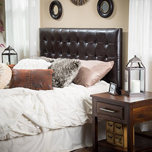Lansing King to Cal King Adjustable Brown Tufted Leather Headboard