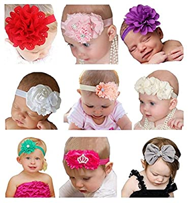 Qandsweet Baby Girl's Headbands Chiffon Hair Bow