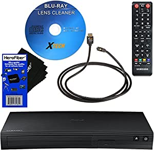 Samsung BD-J5100 Streaming Curved Disk Blu-ray Player with Remote Control + Xtech Blu-Ray Disc Laser Lens Cleaner + Xtech High-Speed HDMI Cable w/Ethernet + HeroFiber Ultra Gentle Cleaning Cloth