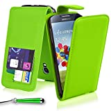 Mobile-Heaven Samsung Galaxy S4 Case Premium Flip PU Leather Wallet Magnetic Pouch Cover for Samsung Galaxy S4 i9500 Case Includes Screen Protector with Microfibre Cleaning Cloth + Touch Stylus Pen (Green)