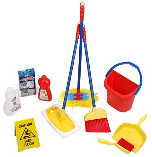 Click n' Play 10 Piece Kids Pretend Play Cleaning Set, Water Bucket, Cleaning Agent Bottles, Broom, Mop, Duster, Wet Floor Sign, Brush and Dustpan (Play Dustpan And Broom compare prices)