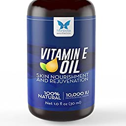 Vitamin E Oil, 100% Natural - Skin Nourishment & Renewal - Natural Vitamin E Oil 10,000 IU + Sweet Almond Oil, 1oz - Rapid Absorption - Best for Scars, Stretch Marks, Wrinkles, Cuticles & Full Hair