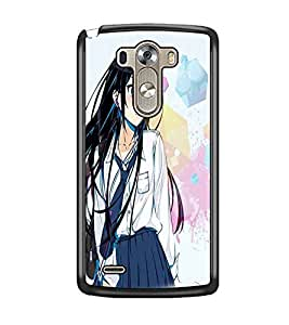 PrintDhaba Cute Girl D-3955 Back Case Cover for LG G3 (Multi-Coloured)