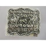 1987 Hesston NFR Belt Buckle -- Jr. Mini Little Buckaroo Buckle -- Hesston National Finals Rodeo Belt Buckle NEW -- MINT IN PACKAGE -- SMALL-SIZED YOUTH / JUNIOR / LADIES BUCKLE -- Team Roping -- National Finals Rodeo -- NFR!