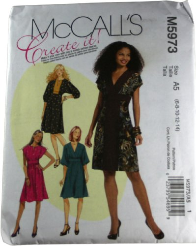 Mccalls M5973 Sewing Pattern Misses Dresses Size A5 6,8,10,12,14 front-935711