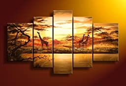 Santin Art - 100% Hand-painted Free Shipping Wood Framed on the Back Wall Art African Forest Giraffes Home Decoration Modern Landscape Oil Painting on Canvas 5pcs/set Mixorde