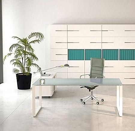 Office&co Scrivania Versus con piano in vetro satinato in Metallo (Bianco)
