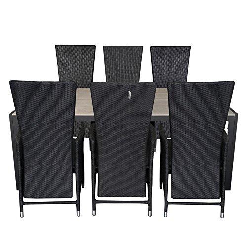 7tlg-Gartengarnitur-Gartentisch-205x90cm-Polywood-Tischplatte-Aluminium-Poly-Rattansessel-Rckenlehne-verstellbar-inklusive-Sitzpolster-Sitzgruppe-Terrassenmbel-Sitzgarnitur