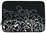 """Black and White Fleur Carrying Case Sleeve fit Apple MacBook 13"""" and 13 - 14 inch Notebook Laptop Computer"""