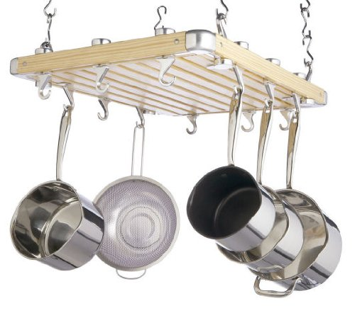 Master Class Deluxe Ceiling Mounted Wooden Pot Rack, 61cm x 51cm