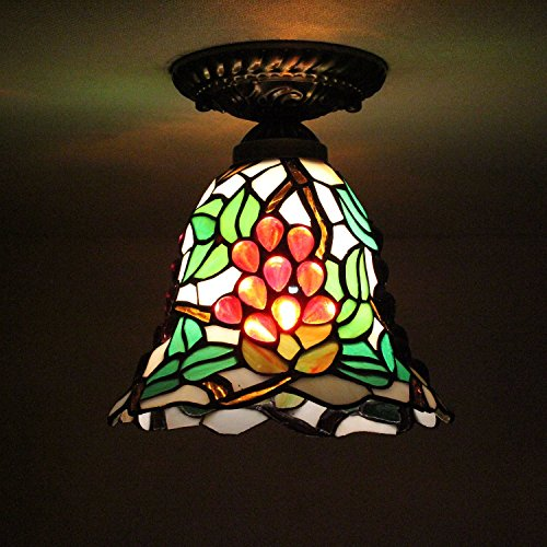 8-inch Vintage Pastoral Stained Glass Tiffany Grape Ceiling Light Living Room Chandelier Hallway Chandelier