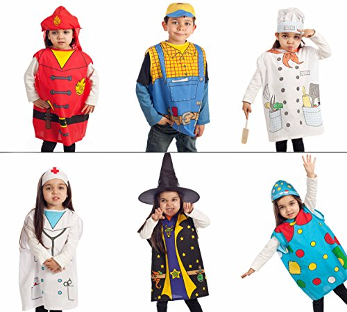 6 pcs dress up Costumes 1 Fireman 2 Construction 3 Cook 4 Nurse 5 Clown 6 Witch