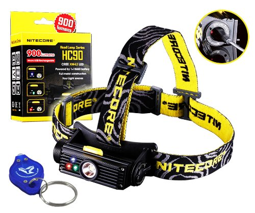Bundle: Nitecore Hc90 900 Lumens Rechargeable Led Headlamp W/ Usb Built-In Charger And Lumentac Keychain Light