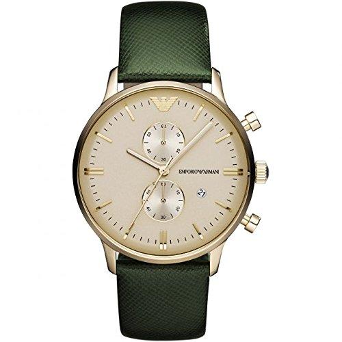Emporio Armani AR1722 - Reloj unisex, correa de cuero color verde