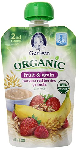Gerber 2Nd Foods Organic Pouch, Banana Red Berries Granola, 3.5 Ounce (Pack Of 12) front-260694