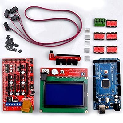 Kuman 3D Printer Controller Kit For Arduino Mega 2560 Uno R3 Starter kits +RAMPS 1.4 + 5pcs A4988 Stepper Motor Driver + LCD 12864 for Arduino Reprap K17