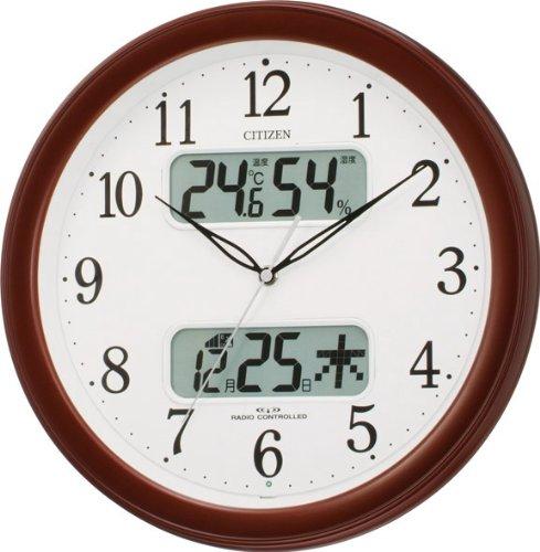 CITIZEN (シチズン) カレンダー表示付き電波掛時計 ネムリーナカレンダーM01 茶色メタリック色 4FYA01-006