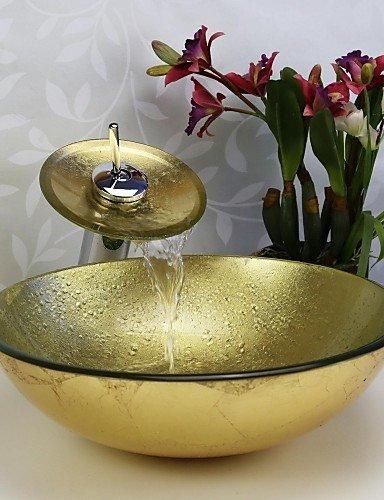 Waschbecken set geh rtetes waschbecken aus glas mit for Deko gartenbrunnen