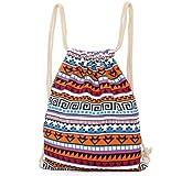 Aeoss Canvas Aztec Geometric Tribal Print Bohemian Drawstring Gym College School Bag Backpack Small Handbag (Blue and Orange)