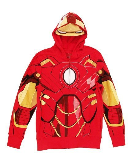 TV Store Iron Man rot Kostüm Zip-Up Herren Hooded Sweathshirt Hoodie (Large)