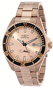 Invicta Men's 15185SYB Pro Diver Rose Gold Dial 18k Ion-Plated Stainless Steel Watch