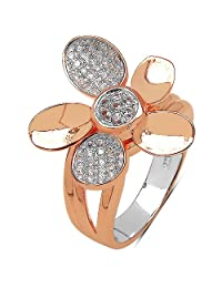 0.71CTW White Cubic Zirconia Rose Gold Plated .925 Sterling Silver Ring