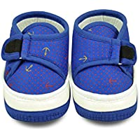 Cute & Attractive Blue and White Soft Fabric Infant Booties Age Group 6-18 Months Less Up Shoes For Kids Infants Boys and Girls By Instabuyz