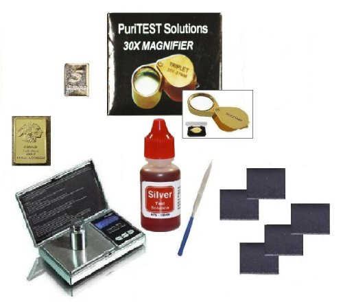 Personal Silver Test Kit- Watches, Jewelry, Coins, Bullion Bars-Test Purity, Appraisal Value