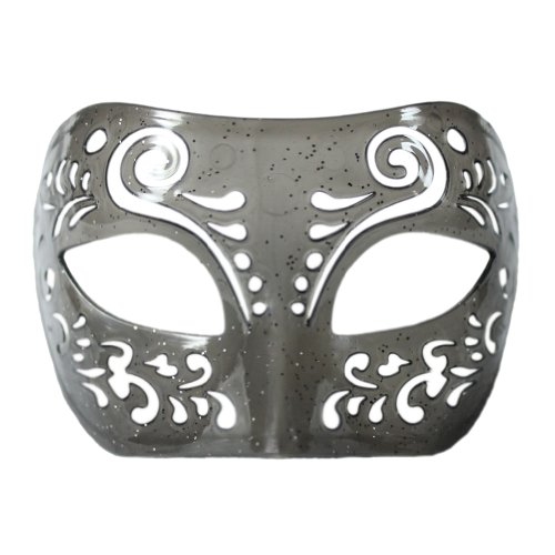 Dream Tale Gray Transparent Venetian Masquerade Mask with Glitter ~ Prom Party