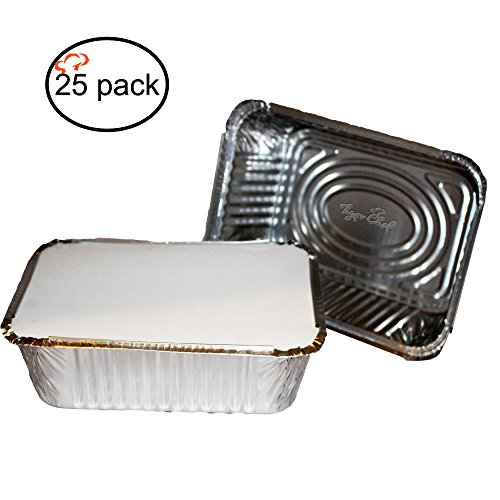 TigerChef TC-20315 Durable Aluminum Oblong Foil Pan Containers with Board Lids, 5 Pound Capacity, 9.63