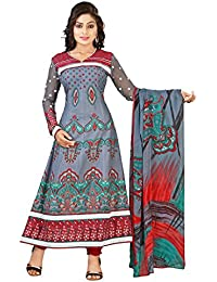 Yehii Semi Stitched Salwar Suit For Women Free Size Party Wear Dress Material Grey | Cotton , Cotton , Chiffon...