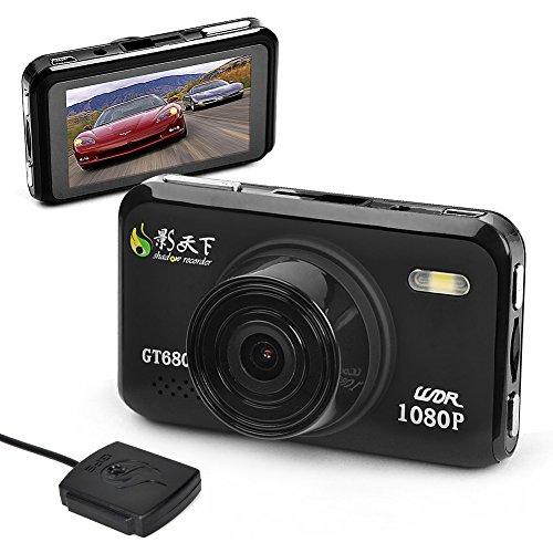 E-Prance New Novatek Gt680W 1080P Car Dvr Video Camera + Gps Logger + Car License Plate Stamp + G-Sensor + H.264 + 4X Digital Zoom + Night Vision + Wdr + 8Gb Memory Card