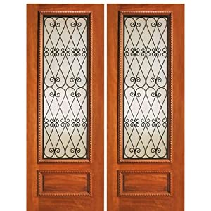 Mahogany wood door with wrought iron ir 737 2 aaw doors for 737 door design