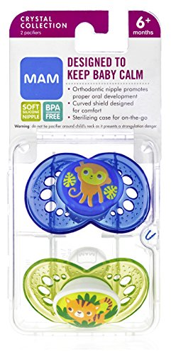 Mam Crystal Orthodontic Silicone 2 Pacifiers 6+ Months - Assorted
