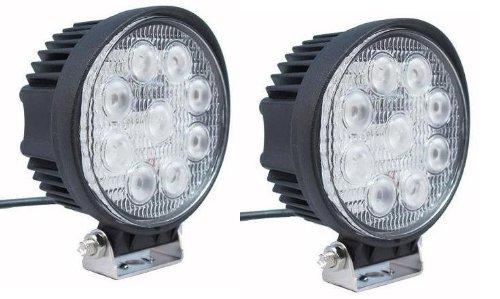 """6Kled 327 Universal 4.5"""" Round 27W Led Working Light Atv 4X4 12V Tractor Led Lighting 60 Degree Flood Beam (Pack Of 2)"""