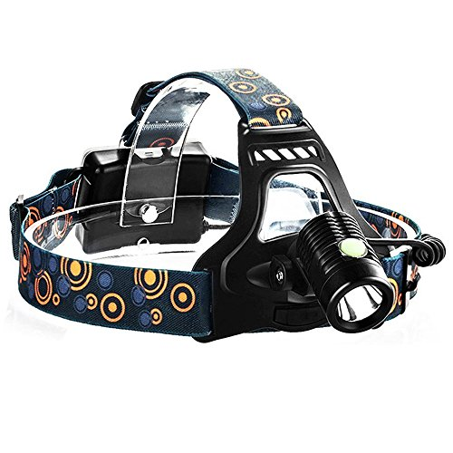 Bright Headlamp T6 LED Headlight Adjustable 3Mode Hands Free Head Mounted Work Light Water-resistant Outdoor Camping Torch Flashlight 3AA Battery Powered (Not Included) (Head Mounted Led Flashlight compare prices)