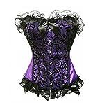Bslingerie Womens Floral & Black Lace Trim Satin Boned Corset Purple Size: UK 12-14 (L)