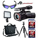 Sony NEX-VG900, Sony Battery, Vanguard Bag, Tripod, LED, Two (2x) 64GB, Bag, w/ Free Pivothead 1080 HD 8MP Video Recording Camera Sunglasses