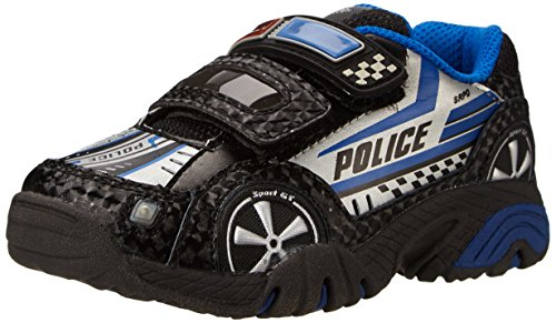 Stride Rite Vroomz Lighted Police Car Running Shoe (Toddler/Little Kid),Black/Silver,12 M Us Little Kid