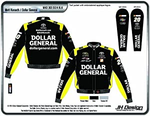 2014 Matt Kenseth Dollar General Mens Black Twill NASCAR Jacket Medium by J.H. Design
