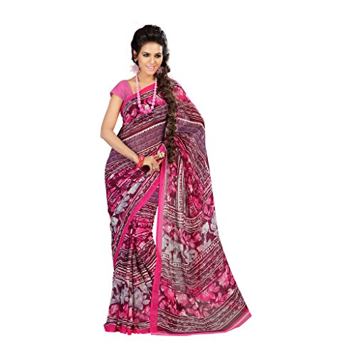 Admyrin Pink And Multi Colour Printed Saree With Pink Blouse Piece