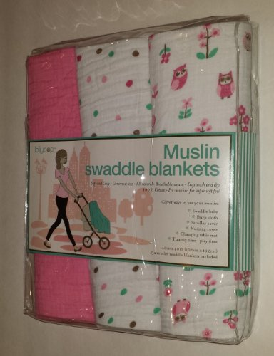 Pink Muslin Swaddle Blankets 3 pack - Polka Dots/Owls - Lollypop