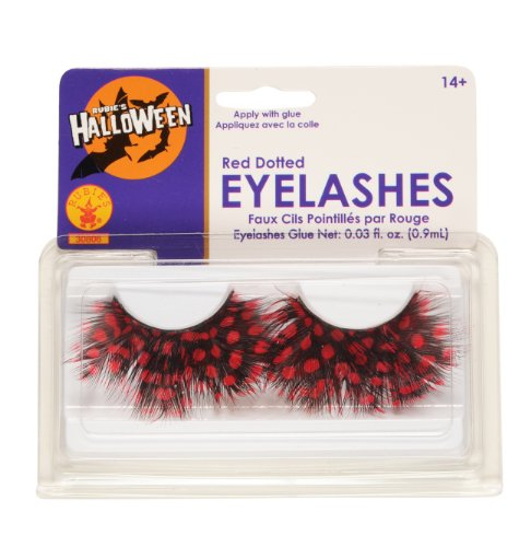 Rubies Red Dotted Eyelashes and Adhesive