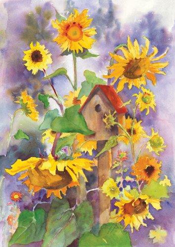 Toland Home Garden Birdhouse And Sunflowers House Flag